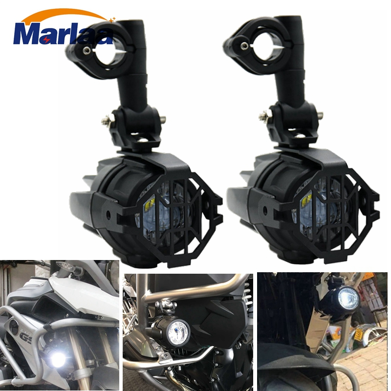 2Pcs Universal Motorcycle LED Auxiliary Light Driving Fog Lamp with Protect Guards Wiring Harness for Motorbike BMW K1600 R1200G