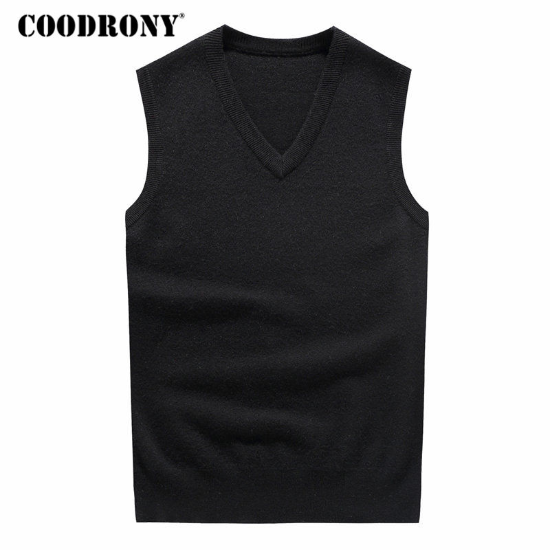 Coodrony 100% Merino Wool Vests V-Neck Sleeveless Vest Sweater Men Winter Thick Warm Cashmere Sweaters Plus Size Pull Homme 7344