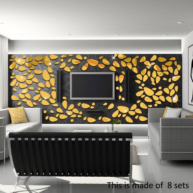 18 Teile/los 3D Kiesel Tapete Spiegel Acryl Wandaufkleber Wohnzimmer  Schlafzimmer Toilette TV Wand Dekoration