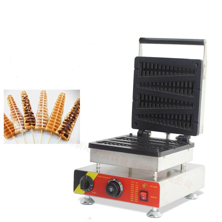 220 V/110 V électrique en acier inoxydable à usage commercial poisson gaufrier machine gaufre sur un bâton cuisine appliance1500W