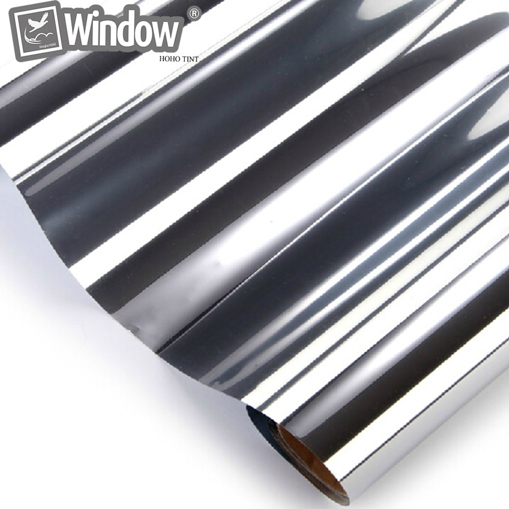VLT20 % Film de teinte solaire à réduction de chaleur 70 cm x 1000 cm Film de teinte de fenêtre en argent Film de teinte à sens unique Film de fenêtre en miroir