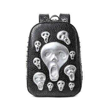 Netzbeutel Zu Verkaufen   Männer Schädel Rucksack Mode Junge Mann PU Leder Niet Taschen 2017 Alien Halloween Taschen Cool Big Rucksack Heißer Verkauf