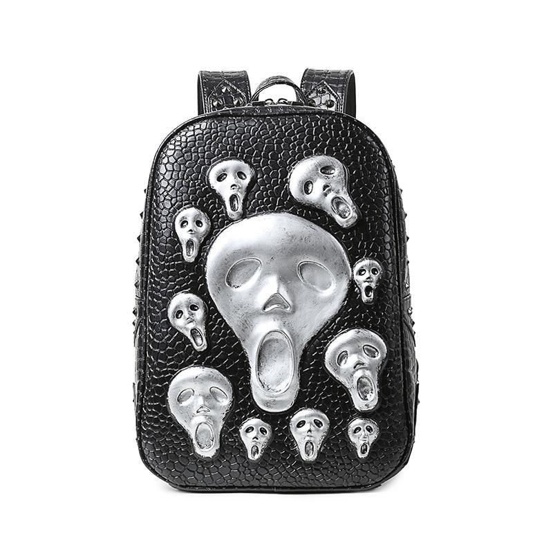 Men Skull Backpack Fashion Young Man PU Leather Rivet Bags 2017 Alien Halloween Bags Cool Big Backpack Hot SaleMen Skull Backpack Fashion Young Man PU Leather Rivet Bags 2017 Alien Halloween Bags Cool Big Backpack Hot Sale