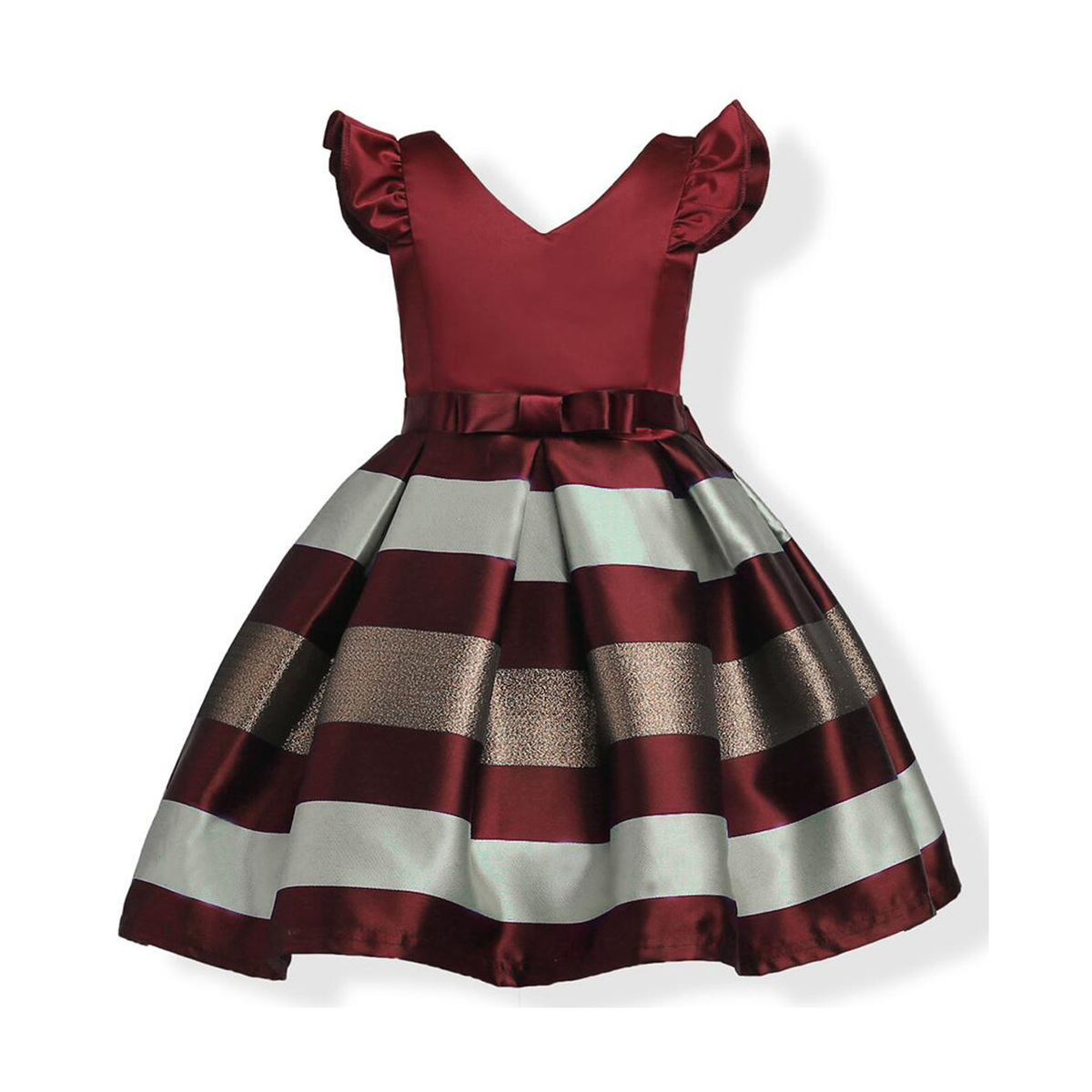 Elegant Kids Dresses for Girls V Neck Sleeveless Striped Bow Girl Dress Summer Wedding Satin Soft Layered Dresses Back Zipper все цены