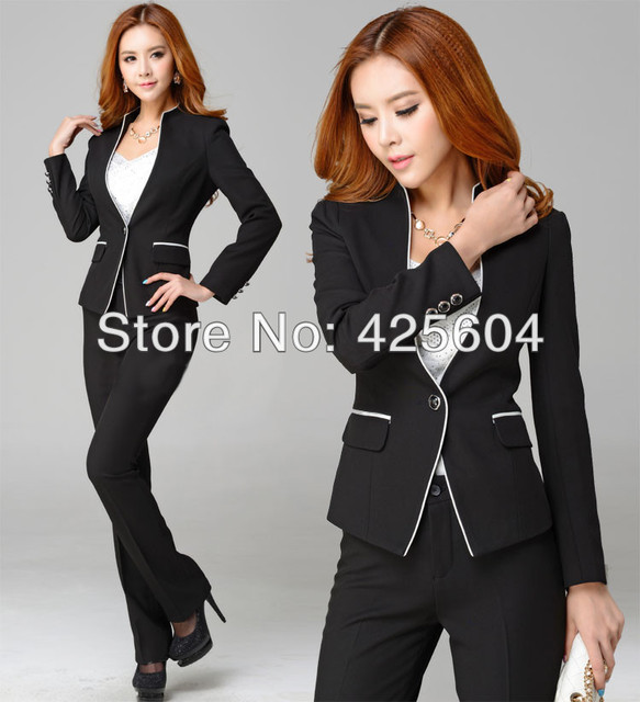 5cc7e3430483f US $48.97 |New Winter Autumn Formal Women Pants Suits Professional Business  Sets Elegant Work Wear Suits ( Coat + Pants) Plus Size XXXL -in Pant Suits  ...