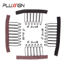 2 Colors Black Brown 2Style 6 Teeth And 8 Teeth Wig Comb For Wig Caps Stainless Steel Hair Combs For Wigs Toupee And Hair Piece(China)