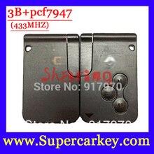 Бесплатная Доставка (5 шт./лот) 3 кнопки Умный Автомобиль для Renault Megane Scenic Смарт-ключ с PCf7947 чип и Аварийный Ключ 433 МГЦ