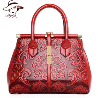 2018 New High Quality Chinese Style Embossed Women Handbag Leather Female Vintage Shoulder Crossbody Tote Ladies Bags sac a main