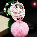 Sleutelhanger Strass Lucky Cat Car Charm Keychain Key Chains Luxury Rhinestone Keychains Rabbit Fur Ball Pompom Keychain llavero