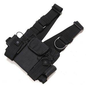 Image 4 - Nylon pouch Carry Case Walkie Talkie Chest Pocket Backpack Black for Baofeng UV 5R UV 82 UV 9R UV XR TYT TH UV8000D MD 380