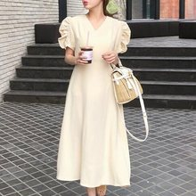 Summer Elegant Sweet Vintage Korean Style Women Midi Dresses Casual Aline High Waist Plain Pleated Female Fashion Retro Dress retro style sleeveless high waist printed pleated dress for women