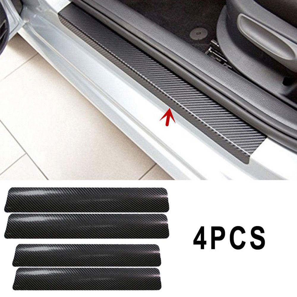 Vehemo 4Pc Black Car Door Plate Stickers Carbon Fiber Look Car Sticker Sill Scuff Cover Anti Scratch Decal Universal For All Car carbon fiber vnyl door sill scuff plate welcome pedal threshold protect stickers for mazda cx 5 cx5 2014 2015 8pcs car styling