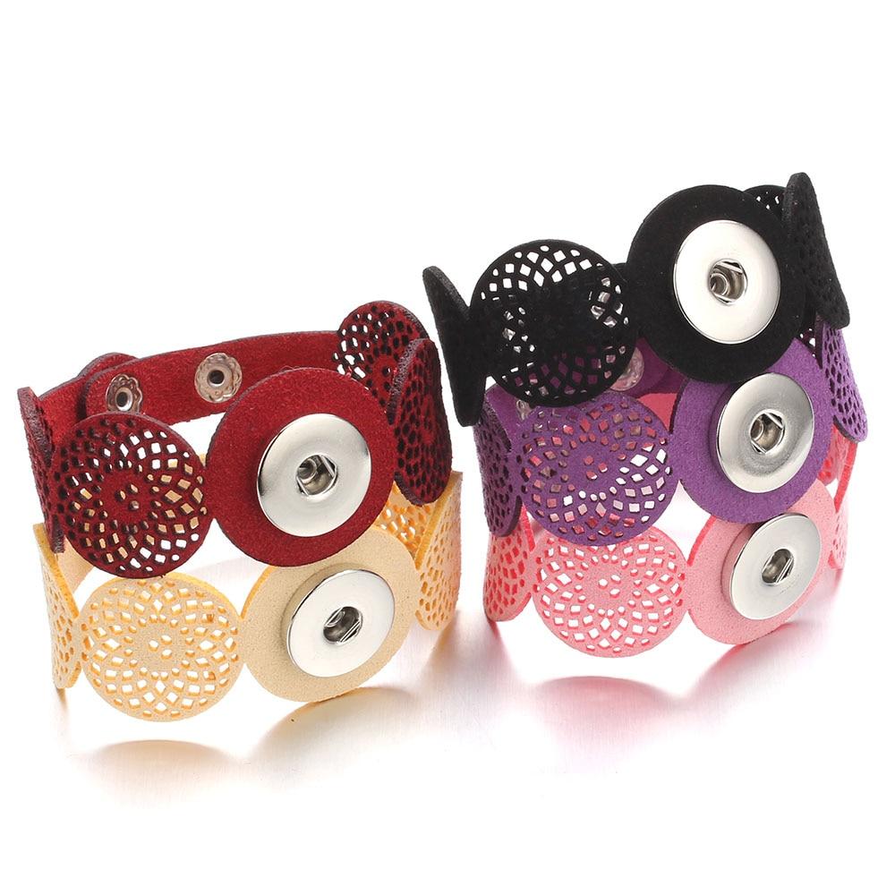 Hot Snap Bracelets & Bangles Newest Design Vintage Style Beads Leather Bracelet FIt 18/MM Snaps Button Jewelry ZE407 6