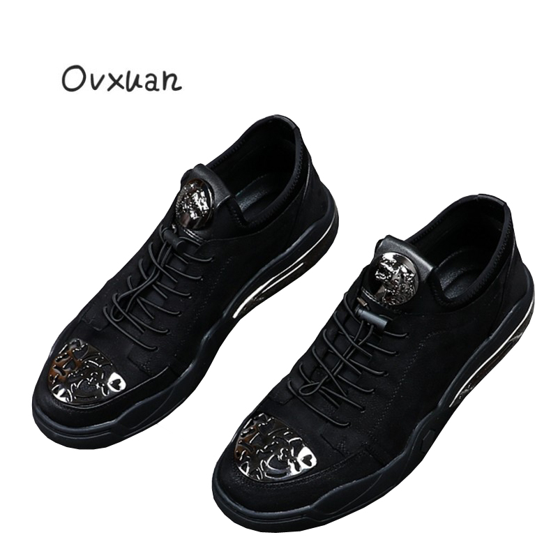 Ovxuan Carved Metal Toe Men Loafers Metal Leopard Head Fashion Party and Banquet Men Dress Shoes Outdoor Casual Shoes Men Flats