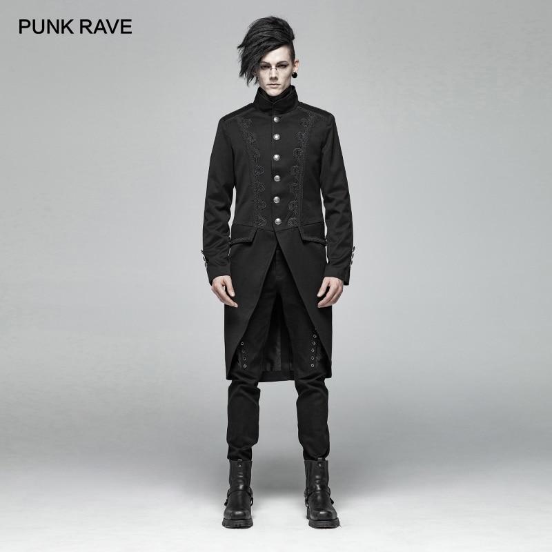 PUNK RAVE Men Gothic Black Mid length Jacket Coat Fashion Steampunk Retro Men Overcoat Evening Party Mens Formal Trench Coat