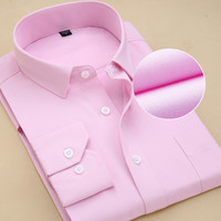 Recommend 8xl  2018 twill solid long sleeve business men dress shirts with pocket work plus size quality well fit male blouses Dress Shirts