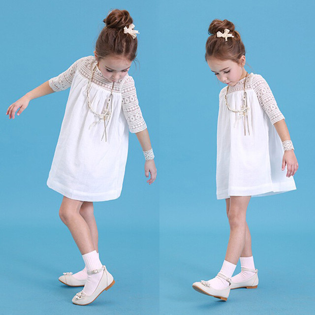 Online Shop Casual Baby Girls White Lace Crochet Floral Party Dress ...