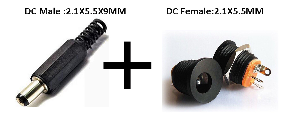 (5Couples/Pack) DC Power Connector pin 2.1x5.5mm Female Plug Jack + Male Plug Jack Socket Adapter 500pcs 5pin 2 5mm x 0 7mm dc notebook socket female cctv charger power plug diy