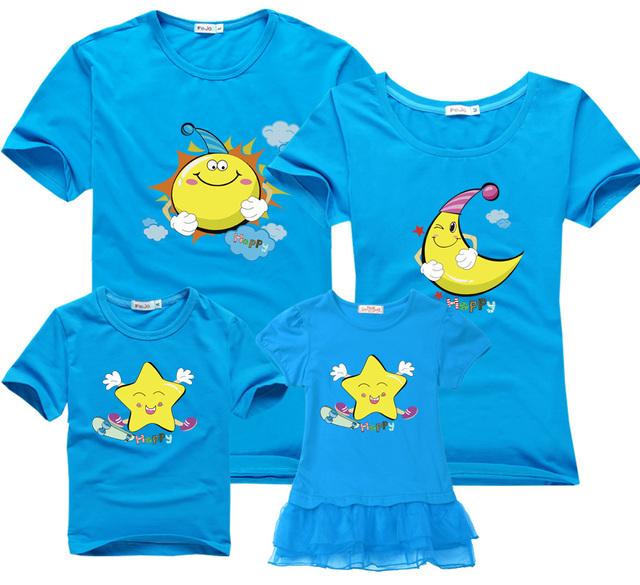 Short-sleeved Mother girl dress together summer family Matching