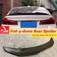 For BMW F06 4-door Rear Trunk Spoiler Wing AEPSM Style FRP Unpainted Black 6-Series 640i 650i 650iGC Tail 12-17