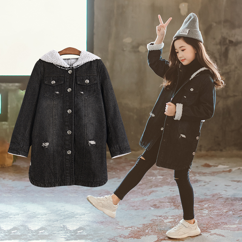 2018 New Winter Kids Girls Denim Jacket Children Plus Thick Velvet Jacket Big Virgin Warm Coat Cotton Hooded Outwear For Girls цены онлайн