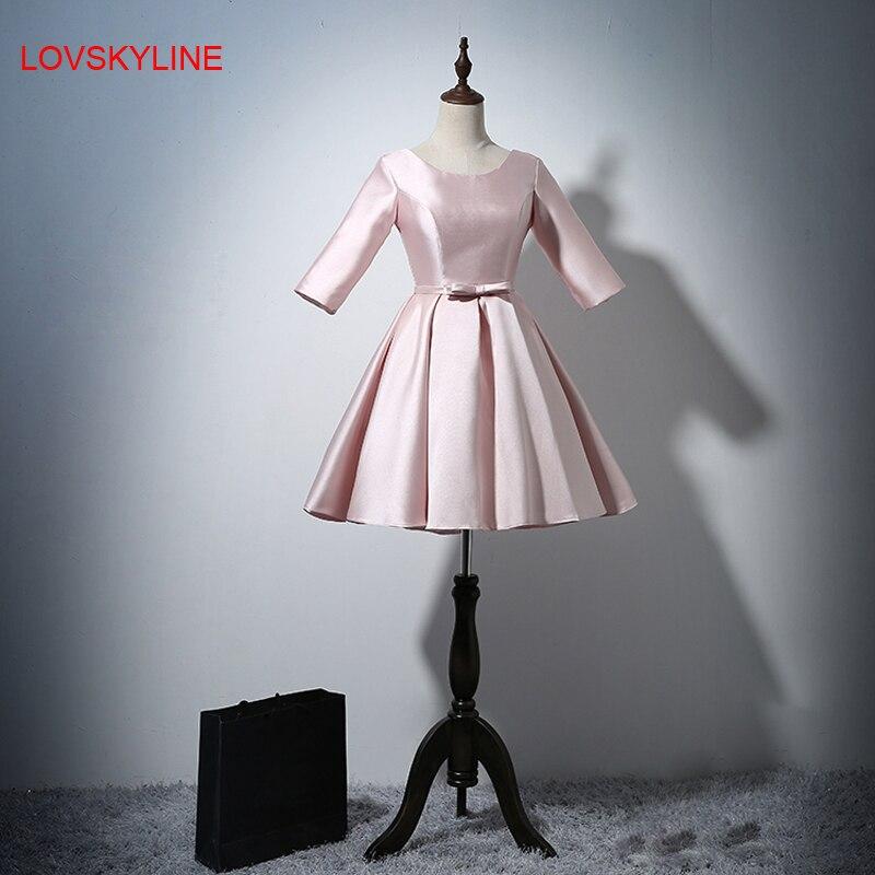 Short prom   dress   Pretty Three Quarter Sleeves O-neck Light Pink Sashes Satin Fashion Short   Dresses   2018 New   Bridesmaid     Dresses