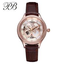 PB Marca de Cristal Austriaco Mujeres De Lujo Mecánico Automático Reloj de Vestir Señoras Del Encanto Del Cuero Genuino De Oro Rosa Relojes Esqueleto