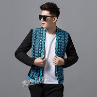 100%real men luxury sky blue beading black fashion event/stage performance short tuxedo jacket/stage performance/ASIA SIZE