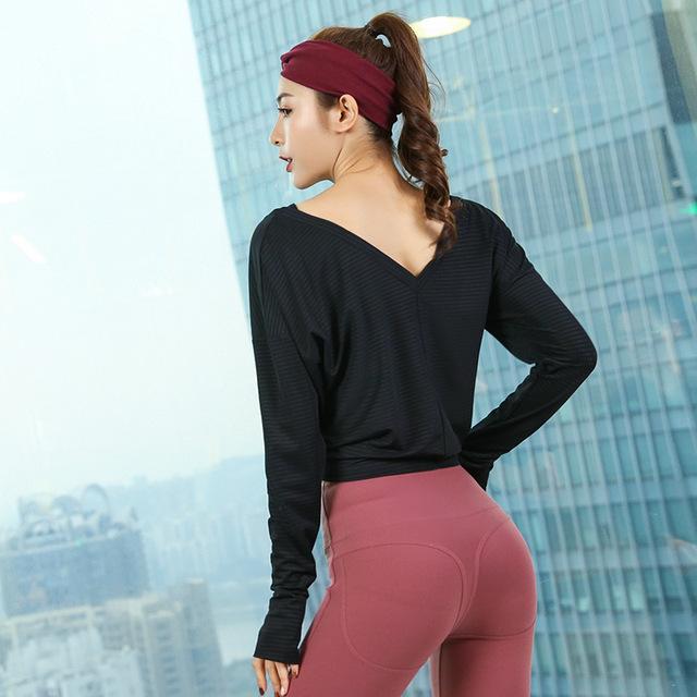 Women Yoga Shirts Long Sleeve Top