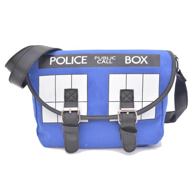 2016 Bolsos 새로운 만화 소녀 크로스 바디 스쿨 백 애니메이션 박사 누가 Tardis 사무실 레이디의 핸드백 Bolsa Feminina Police Box Messenger