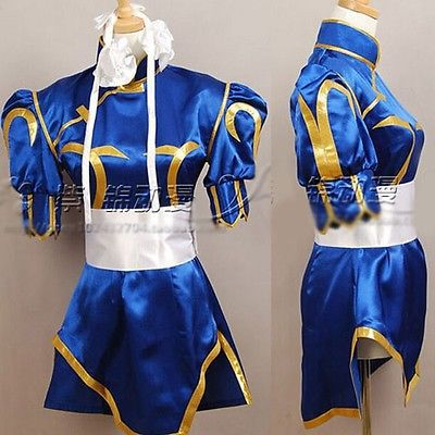 Free Shipping Street Fighter CHUN LI Cosplay Costume Deep Blue Kimono Cheongsam Full Set
