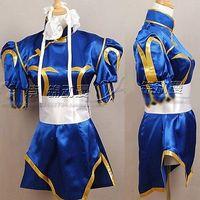 Free Shipping Street Fighter CHUN LI Cosplay Costume Deep Blue Kimono Cheongsam Full Set