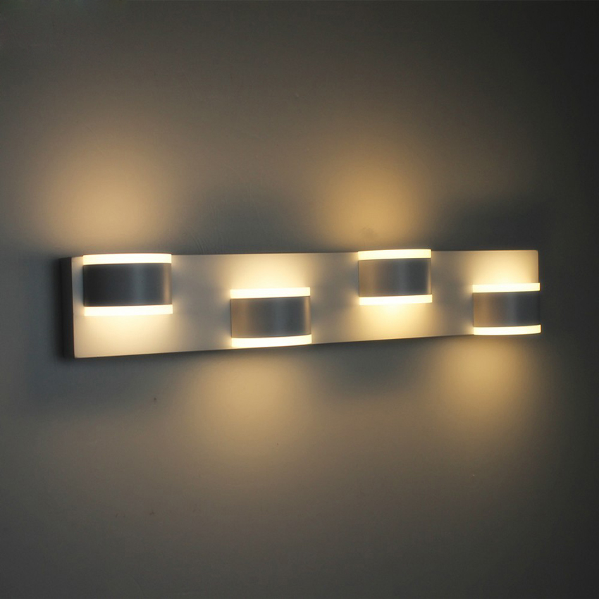 Modern Bathroom Led Mirror Light 520*80*75mm 90~260v 12w 4 Heads Aluminum Acryl Led Wall Sconce Led Bed Lamp 100% Quality Guaran modern minimalist waterproof antifog aluminum acryl long led mirror light for bathroom cabinet aisle wall lamp 35 48 61cm 1134