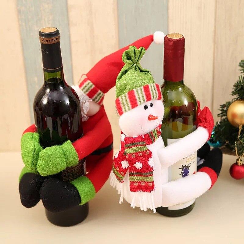 Christmas Home Decorations Santa Snowman Bottle Sets Large