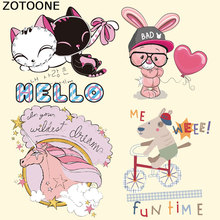 ZOTOONE Cute Bunny Unicorn Patches Iron on Transfer for Clothes Decoration DIY Stripes Custom Patch Stickers Applique E