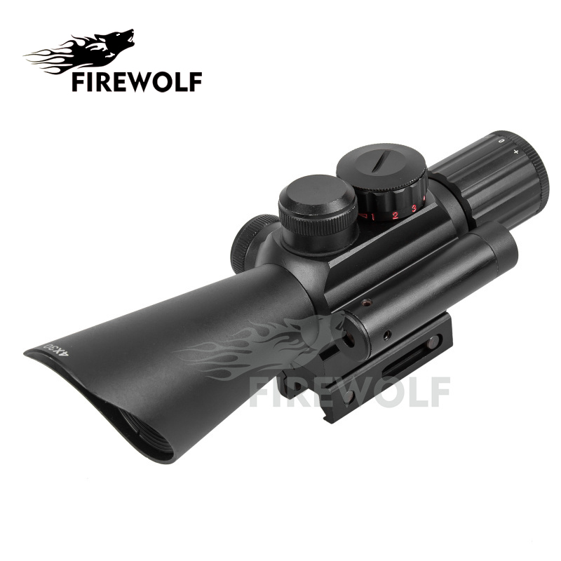 FIRE WOLF Tactical 4X30 Red Green Mil Dot Sight Scope w/Red Laser w/11mm 20mm Rail Mount Hunting Airsoft Chasse Caza green red dot 3 10x42 illuminate mil dot reticle sight rifle scope with red laser for airsoft hunting caza 20mm 11mm mount rail