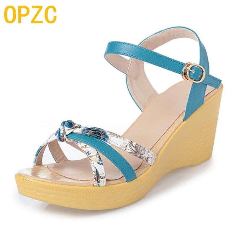 OPZC2018 Zomer nieuwe aankomst gedrukt vrouw sandalen microfiber - Damesschoenen