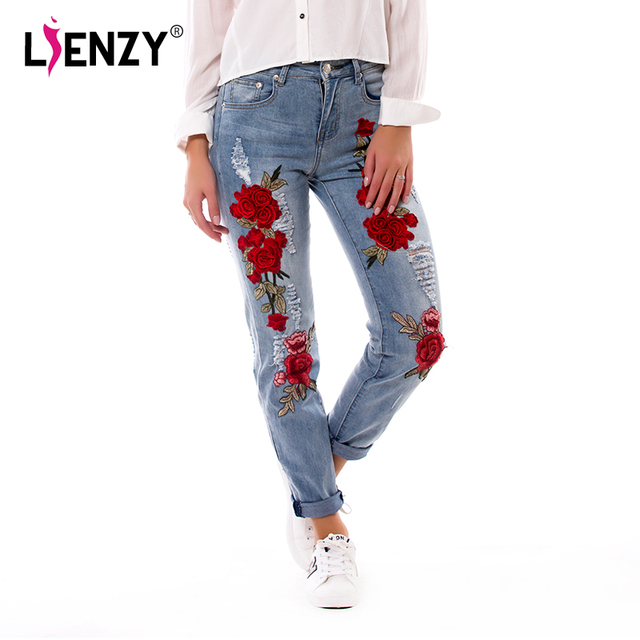 ed4118febf US $43.99 |LIENZY Summer Red Rose Embroidered Jeans For Women High Elastic  Ripped Jeans Boyfriend Denim Pants XS 3XL-in Jeans from Women's Clothing on  ...