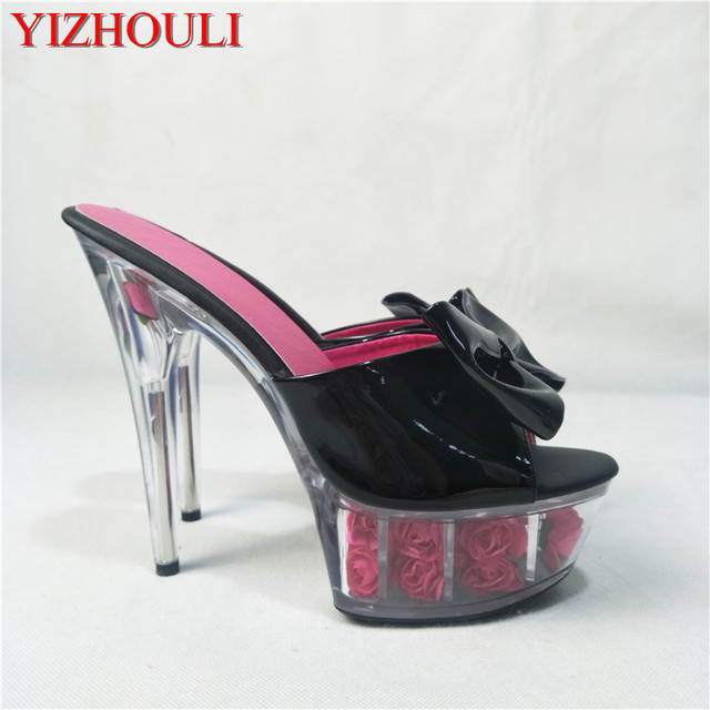 55682b1e4547f 6 Inch High Heeled Shoes Sexy Crystal Slippers Flowers Women Slides 15cm  Exotic Dancer Platforms Stiletto Shoes-in Slippers from Shoes on ...