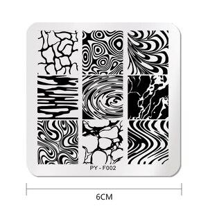 Image 2 - PICT YOU Square stemplowanie płytki wzór woda seria obraz paznokci szablony stempli ze stali nierdzewnej Nail artystyczny design Tools F002