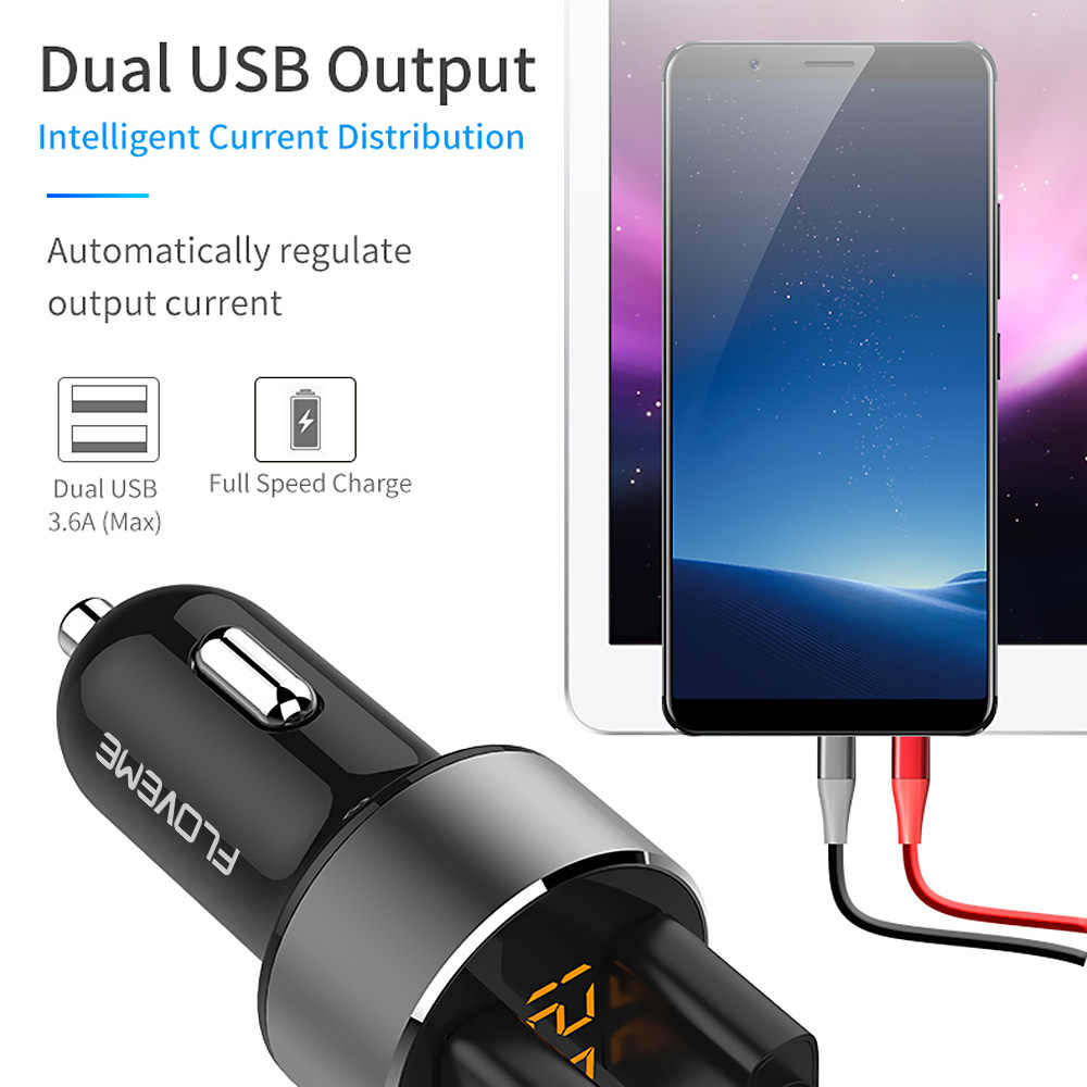 Floveme 5V 3.6A Autolader Dual Usb Fast Charger Sigarettenaansteker Auto-oplader Voor Iphone Xiaomi Samsung Mobiele Telefoon laders
