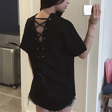 Lace up backless Korean fashion black tunic women t shirt v neck short sleeve Hollow out tops solid 2019 summer vogue chothes недорого