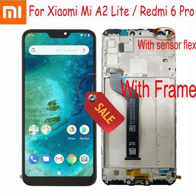 """100% اختبار العمل ل شاومي Mi A2 لايت 5.84 """"LCD عرض تعمل باللمس محول الأرقام الجمعية ل Redmi 6 برو الإطار الاستشعار بانتيلا"""
