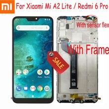 """100% протестированная работа для Xiaomi Mi A2 Lite 5,84 """"ЖК дисплей сенсорный экран дигитайзер сборка для Redmi 6 Pro + рамка датчик Pantalla"""