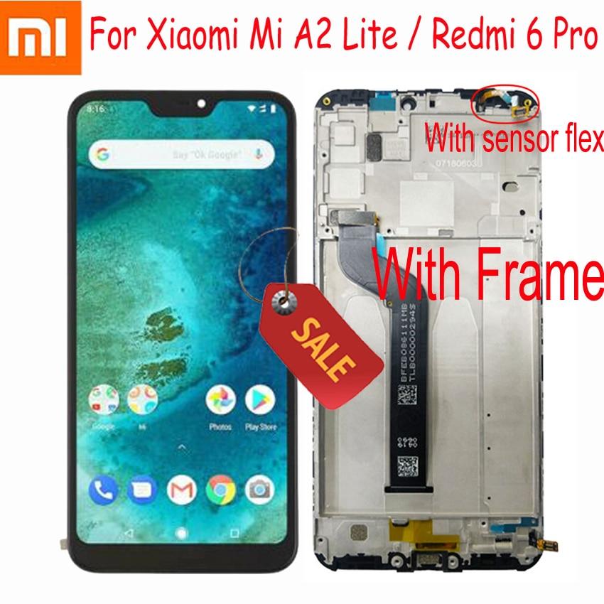 Original Xiaomi Mi A2 Lite 5.84 Inch Touch Screen Digitizer Assembly For Xiaomi Redmi 6 Pro With Frame Sensor Repair