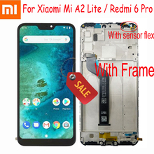 "Xiaomi Mi A2 Lite 100% ""LCD 디스플레이 터치 스크린 디지타이저 어셈블리, Redmi 6 Pro + Frame Sensor Pantalla 용 5.84 테스트 작업"
