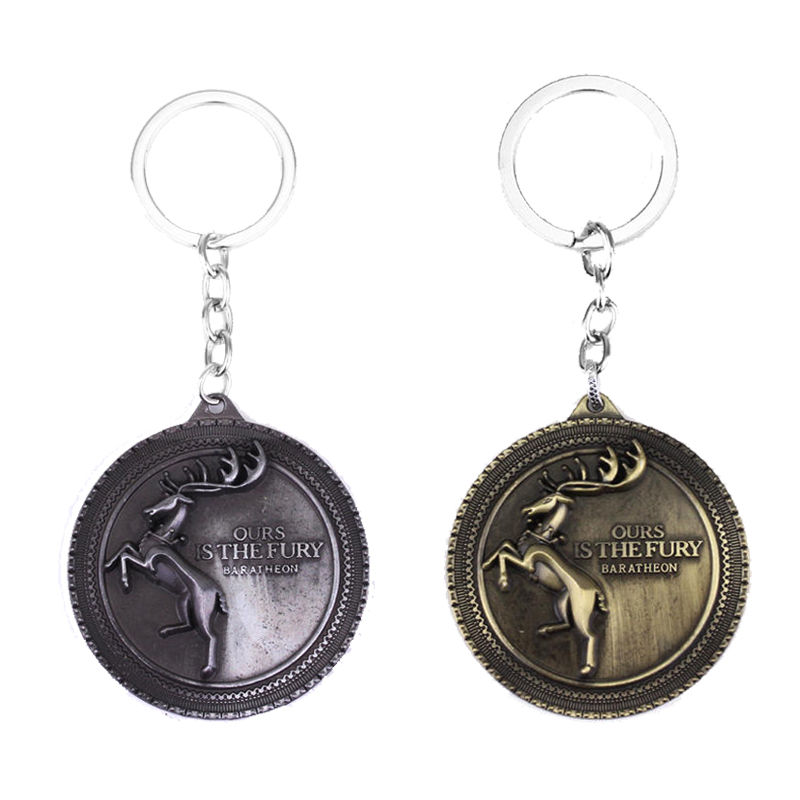 SG Fashion Movie Game Of Thrones Series Keyring High Quality Baratheon Family Bucks Keychain With Car Chain For Men
