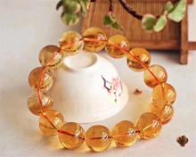 Top Quality Natural Yellow Citrine Quartz Gemstone Round Beads Bracelet 15mm Wealthy Woman Fashion Healing Crystal Brazil AAAAA