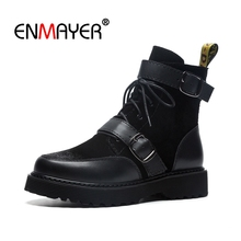 ENMAYER Women Ankle boots Round Toe Med heels Short boots Suede Autumn Winter boots Thick heel Zipper Black Shoes CR1355 стоимость