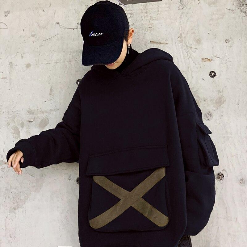 2019 New Western Street Fashion Thicken Men Cargo Style Hoodies Casual Fleece Male Pullover Hooded Sweatshirt Streetwear Loose